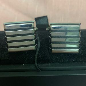 Other - Mens square silver cuff links with black stripes